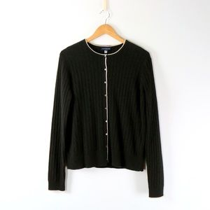 NWT Ann Taylor 100% Pure Cashmere 2Pc Black Cardigan Sweater Twinset